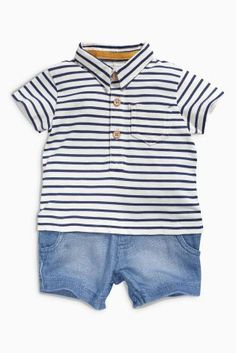 Buy Ecru/Navy Stripe Romper (0mths-2yrs) online today at Next: United States of America