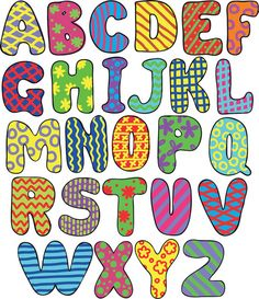 Illustration about Colorful whimsical hand-drawn alphabet. Illustration of game, graphic, forms - 26620626 Alphabet Letter Templates, Alphabet Art, Alphabet And Numbers, Alphabet Games, Alphabet Design, Creative Lettering, Lettering Styles, Hand Lettering, Coloring Pages