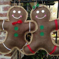 Burlap Gingerbread Man Door Hanger by BurlapandCoffee on Etsy, $22.00
