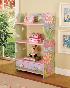 Kids Girls Magic Garden Book Shelf Shelves Frog Butterfly Flowers Bookcase NEW Kids Furniture, Painted Furniture, Funky Furniture, Classroom Furniture, Painted Chairs, Nursery Furniture, Furniture Sale, Bookcase With Drawers, Magic Garden