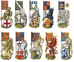 """""""Various Heraldic Beast and the Banner which they Supported from the History of England, Wales, Scotland and Great Britain"""", Dan Escott Medieval World, Medieval Art, History Of England, British History, Family Shield, Banner, Wars Of The Roses, Chivalry, Family Crest"""