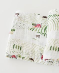 Muslin Swaddle, Rolling Hills - Spearmint LOVE