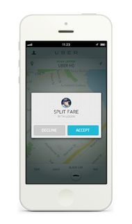 Uber's fare-splitting feature will become available when iPhone and Android users download a software update.