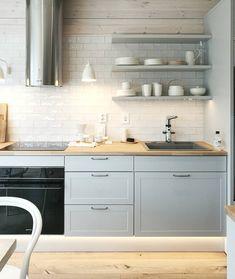 Love this Kitchen Interior Design by /Sisustussuunnittelu äki - IKEA Ikea Kitchen Cabinets, Basement Kitchen, Home Decor Kitchen, Rustic Kitchen, Kitchen Grey, Grey Kitchen Designs, Interior Design Kitchen, Kitchenette, Grey Kitchens