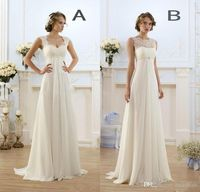 2017 New Empire Bohemian Wedding Dresses Cheap Maternity Gown Cap Sleeve Keyhole Lace Up Backless Chiffon Summer Beach Pregnant Bridal Gowns Tea Length Wedding Dresses Wedding Dress Designers From Bestdeals, $111.65| Dhgate.Com