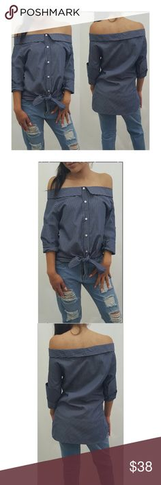 """Off the Shoulder Top  -Top with tie- knot in front - Off Shoulder  - Button on each side of arm with side slits on arm cuffs - Allover Stripe - Fits true to size - 29"""" length - Colors Navy/ White - model is wearing size small Tea n Cup Tops"""
