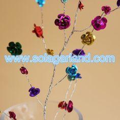 Aluminum Rose Flower Beads Garland Wire Branch