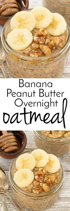 Minus the honey Get out of bed sleepy head and enjoy this Banana Peanut Butter oatmeal you made the night before! Also made with chia seeds, honey and walnuts a healthy breakfast. Brunch Recipes, Breakfast Recipes, Breakfast Time, Banana Breakfast, Breakfast Healthy, Breakfast Ideas, Overnight Oatmeal, Overnight Breakfast, Healthy Overnight Oats