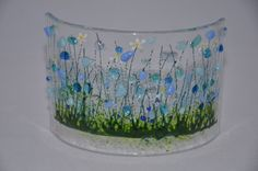 Handmade Fused Glass Art Cornflowers Curve by PamPetersDesigns