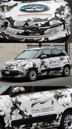 Car wrapping Fiat 500 camouflage. Grafica e stampa pubblinova.net  Wrapped by ForCar Sport