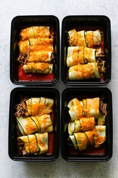 Beef Zucchini Enchilada Meal Prep - Meal Prep on Fleek™ Low carb enchiladas made with sliced zucchini and shredded crockpot beef. Diet Lunch Ideas, Lunch Meal Prep, Lunch Recipes, Healthy Recipes, Healthy Food, Salmon Recipes, Eating Healthy, Beef Recipes, Dinner Recipes