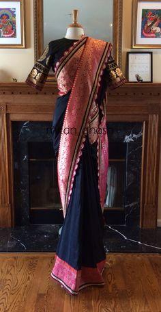 Raw Silk Saree With Banarasi Border Raw Silk Saree, Indian Silk Sarees, Silk Saree Banarasi, Brocade Saree, Saree Blouse Patterns, Saree Blouse Designs, Dress Designs, Indian Attire, Indian Wear