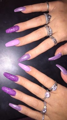 Pintrest:PussyPoppinPink Phhhoto: nuggwifeee Sc:malinasma Purple Acrylic Nails, Purple Nails, Acrylic Nail Art, Acrylic Nail Designs, Dope Nails, Nails On Fleek, My Nails, Hair And Nails, Stiletto Nails