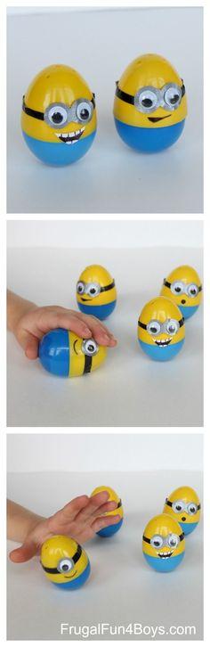 Wobble Egg Minions - Plastic Easter eggs make a fun DIY toy!