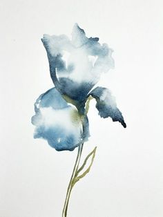Iris n ° 18 Abstract Watercolor, Watercolor And Ink, Watercolor Illustration, Watercolour Painting, Watercolor Flowers, Watercolors, Iris Painting, Abstract Flowers, Botanical Art