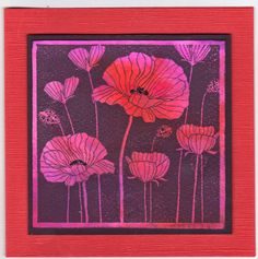 handmade card from The Daley Stamper ... square format .... negative image stamp ... poppies on long stems ... magenta and red ... Asian feel ...