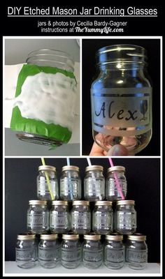 DIY Etched Drinking Glass Tutorial! How Fun And Great For Party Favors! #Home #Garden #Trusper #Tip