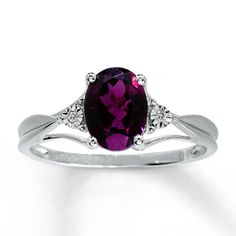 10K White Gold Diamond & Brazilian Garnet Ring