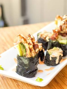 The most epic sushi roll of all time -a home made soft shell crab spider roll with avocado, cucumber and alfalfa sprouts. Low carb. Gluten Free, Dairy Free