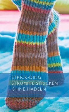 Strümpfe stricken ohne Nadeln, es ist kaum zu glauben, aber wahr. Anleitung als PDF