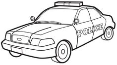 Police car colouring page.