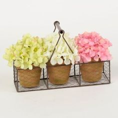 Look like you just came back from the local flower market with this Hydrangea Wire Basket Arrangement. You'll love the vintage basket with its green, white, and pink blossoms! #kirklands #SpringisintheAir