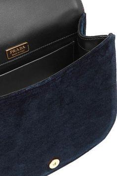 Prada - Pionnière Leather-trimmed Velvet Shoulder Bag - Midnight blue - one size