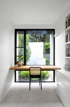 Solid Oak Desk, Window Desk, Brighton Houses, Melbourne House, Minimal Home, Workspace Design, Big Windows, Home Office Desks, Tiny Home Office