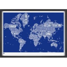 Bold & Noble World Type Map Print - Reflex Blue - Bold & Noble from eggcup & blanket UK Gifts Australia, Wall Maps, Cartography, Screen Printing, Brazil, Poster Prints, Posters, Typography, Canada