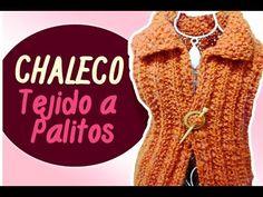 CHALECO TEJIDO A PALITOS en punto falso ingles y punto arroz / (Eng Sub)Vest tissue Sticks | Canela♥ - YouTube