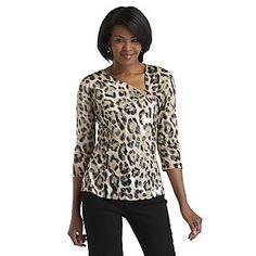 Jaclyn Smith- -Women's Textured Top - Leopard Print