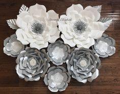 8 Piece Paper Flowers Wedding decor Bridal by SincerelyElizabethh