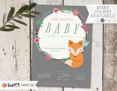 Fox Floral Baby Shower Invitation | Digital Printable Customized PDF Baby Shower Invitation | Gender Neutral Invitation | Joint Baby Shower by OhHappyDayPaperCo on Etsy https://www.etsy.com/listing/475377711/fox-floral-baby-shower-invitation