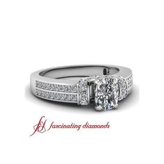 Cushion Cut Diamond Engagement Ring In Pave Setting ($946) via Polyvore