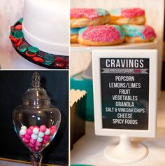 baby shower or gender reveal party menu featuring the mama to be food cravings We would have to have gumbo, movie popcorn, biscuits and gravy, and of course chicken nuggets!