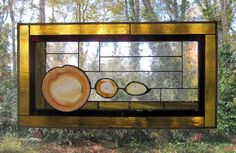 "Zion Narrows - Agates w/Amber and Rust Glass:  Large Stained Glass Panel with 3 Agates (approx 12.5"" wide x 23.5"" tall) by ArtGlassInspired on Etsy"