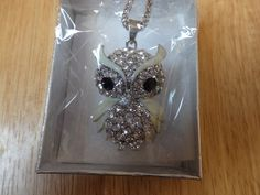 NEW Creature Couture Owl Pendant with Black/White Austrian Crystal Silvertone  #Pendant