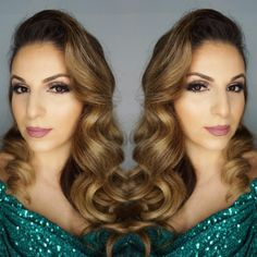 """77 Likes, 12 Comments - ✨GLAM By Adela✨ (@glam_by_adela) on Instagram: """"#hair and #makeup by:::: @glam_by_adela 🤗 #oldhollywoodglam #hudabeauty #greendress…"""""""