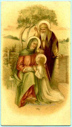 Sagrada Familia, (estampa antigua)  St. Anne, St. Joachim & the Virgin Mary as a child