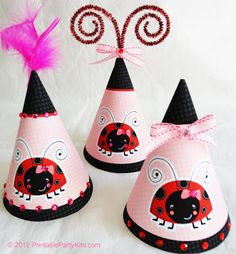 Free Ladybug Party Hats http://printablepartyinvitations.blogspot.com/2012/10/ladybug-part-hats.html