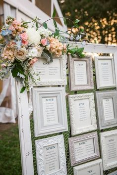 White frames, seating chart, rustic and whimsical // Grant & Deb Photographers