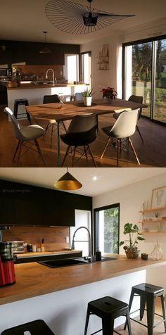 Cuisine moderne ouverte noir et bois sur salon moderne industriel ...
