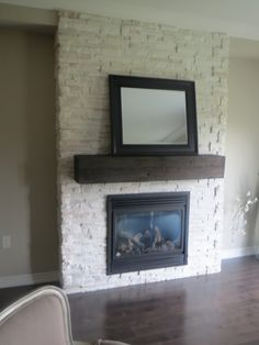 White stone fireplace - maybe something like this, but with a bit ...