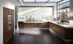 minimal white / wood  corner kitchen