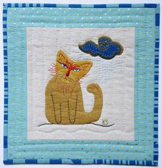 Rainy Day Blues mini quilt by Kristin Shields