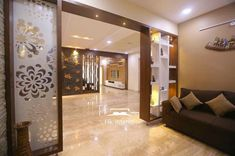 Home center Interiors creating stunning and elegant interiors .We reach our clients' expectations Glass Partition Designs, Living Room Partition Design, Living Room Divider, Pooja Room Door Design, Living Room Tv Unit Designs, Bedroom Cupboard Designs, Home Room Design, Hall Interior Design, False Ceiling Living Room