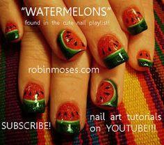 Watermelon Nail Art by Robin Moses