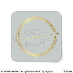 MODERN ARROW LOGO gold foil rustic hand drawn grey