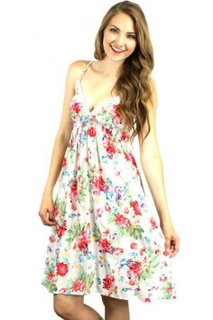 Ivory floral print spaghetti strap dress with scrunched bust http://enewstore.com/womens-dresses/