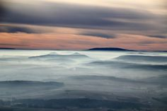 Mist covers the hills in Harzvorland Germany  #sky #mist #covers #hills #harzvorland #germany